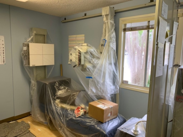 x-ray room preparing for renovation, to put protections to prevent equipment damage in ICON Chiropractic Campbell Office