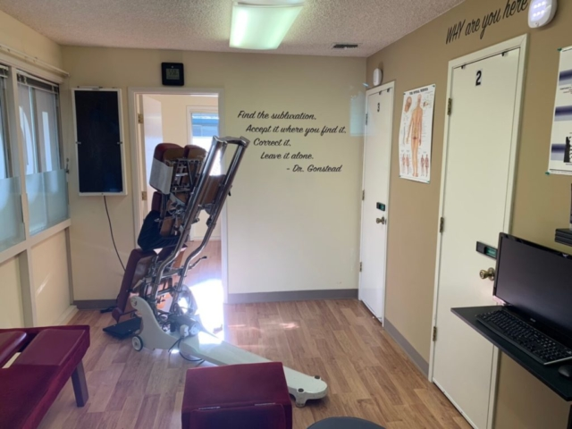 Adjustment room with sunshine, floor renovation completed in ICON Chiropractic Campbell Office