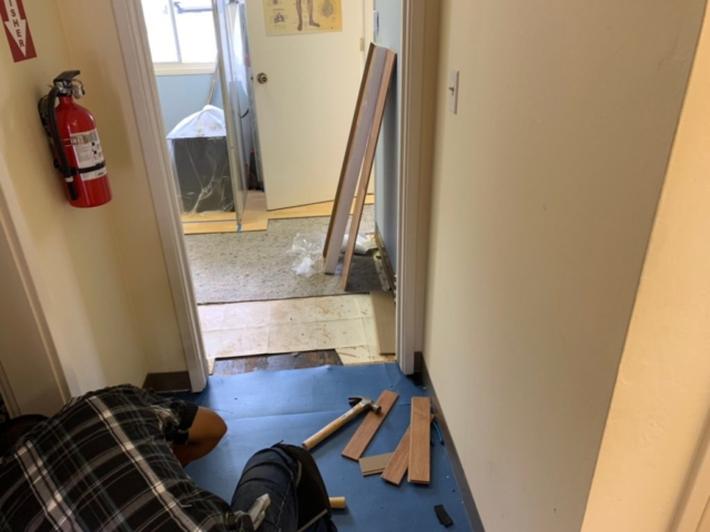 Undergoing floor renovation in ICON Chiropractic Campbell Office